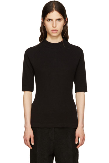 MM6 Maison Margiela - Black Waffle Cotton T-Shirt
