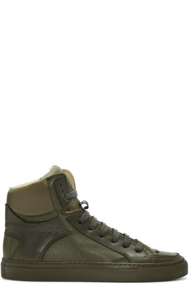 MM6 Maison Margiela - Green Calfskin High-Top Sneakers