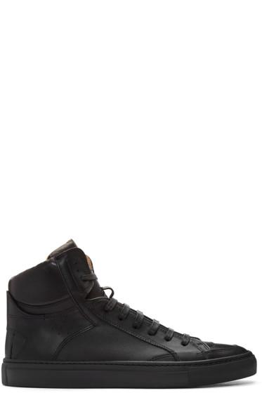 MM6 Maison Margiela - Black Nappa Calfskin High-Top Sneakers