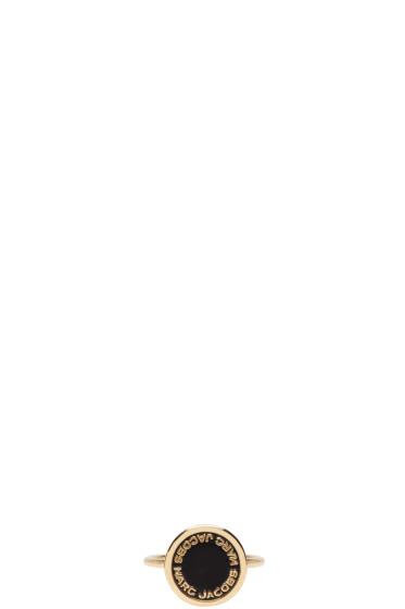 Marc Jacobs - Gold & Black Logo Disk Ring