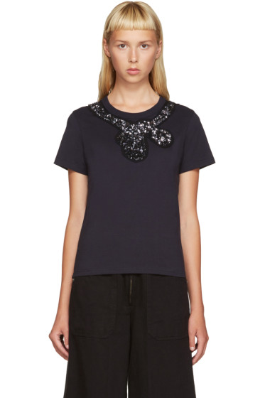 Marc Jacobs - Navy Sequin Bow T-Shirt