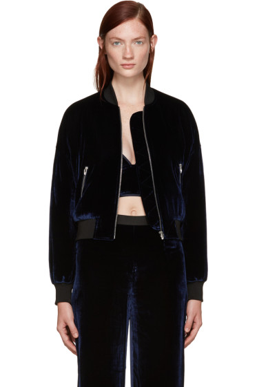T by Alexander Wang - Navy Velvet Bomber Jacket