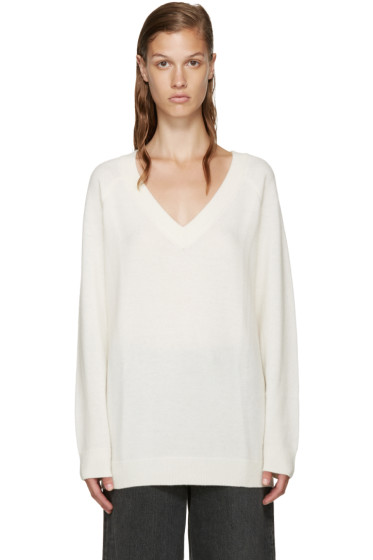 T by Alexander Wang - Ivory V-Neck Sweater
