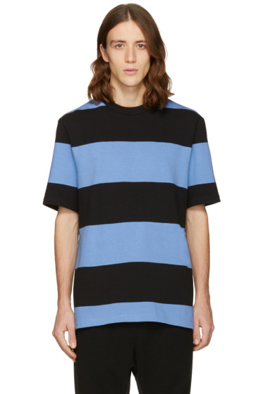 T by Alexander Wang - Blue & Black Striped T-Shirt