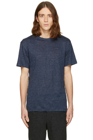 T by Alexander Wang - Blue Linen Striped T-Shirt