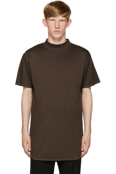 Robert Geller - Brown Mock Neck T-Shirt
