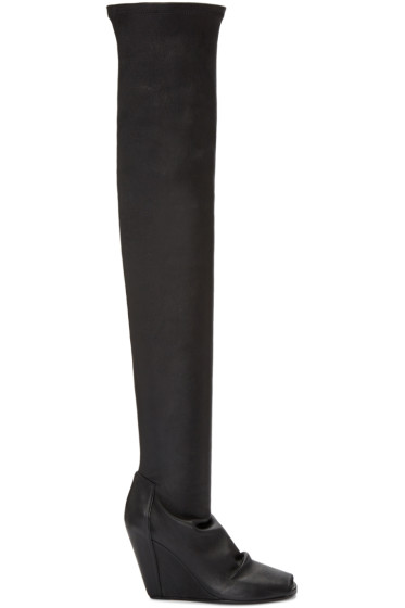 Rick Owens - Black Thigh-High Wedge Boots