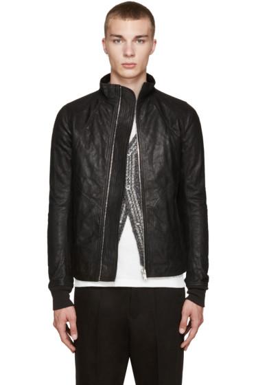 Rick Owens - Black Intarsia Leather Jacket