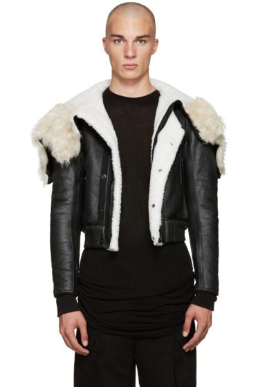 Rick Owens - Black Shearling Bomber Jacket