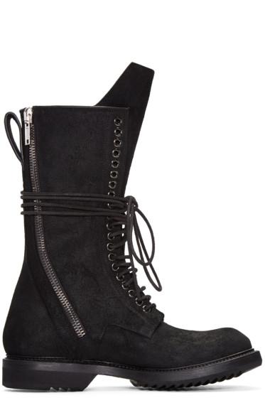 Rick Owens - Black DB Zip Lace-Up Boots