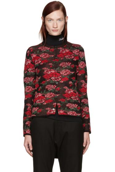 Comme des Garçons - Black Wool Floral Cardigan