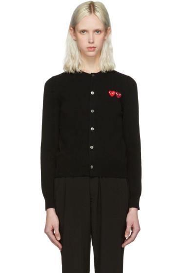 Comme des Garçons Play - Black Wool Double Heart Cardigan