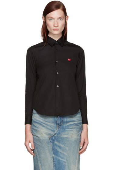 Comme des Garçons Play - Black Poplin Small Heart Shirt