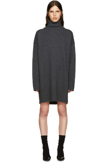 Jil Sander - Grey Wool Turtleneck Dress