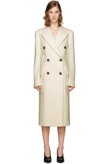 Jil Sander - Ivory Birmingham Double-Breasted Coat
