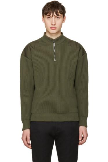 Jil Sander - Green Shoulder Patch Sweater