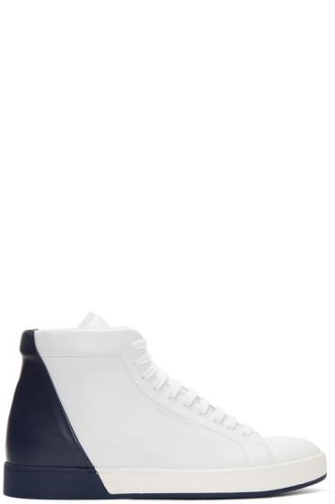 Jil Sander - White & Navy Mid-Top Sneakers