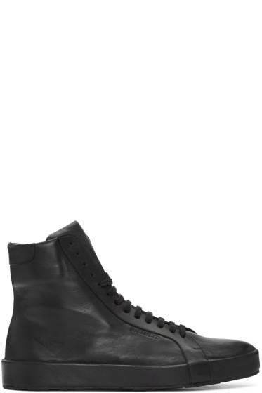 Jil Sander - Black Leather High-Top Sneakers