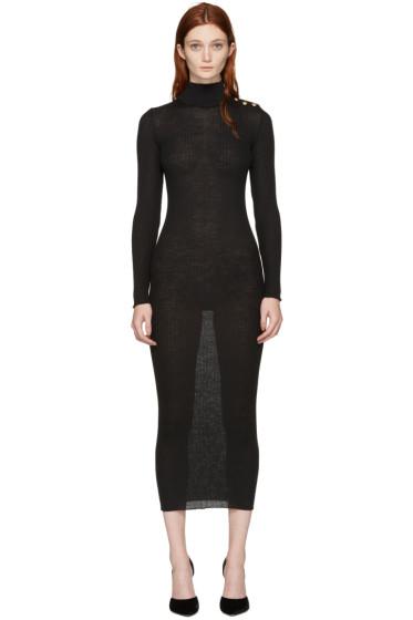 Balmain - Black Wool Dress