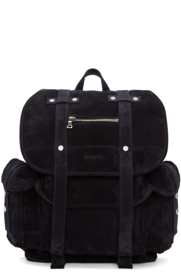 Balmain - Navy Suede Backpack