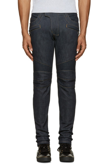 Balmain - Navy Raw Biker Jeans