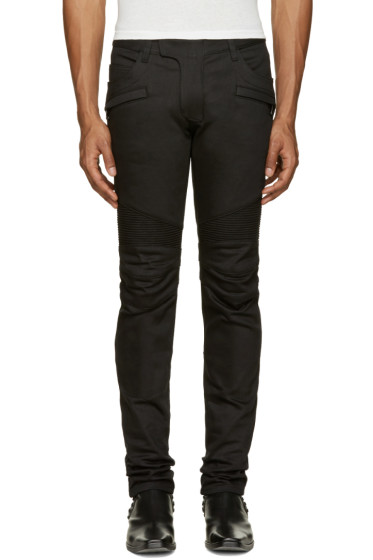 Balmain - Black Raw Biker Jeans