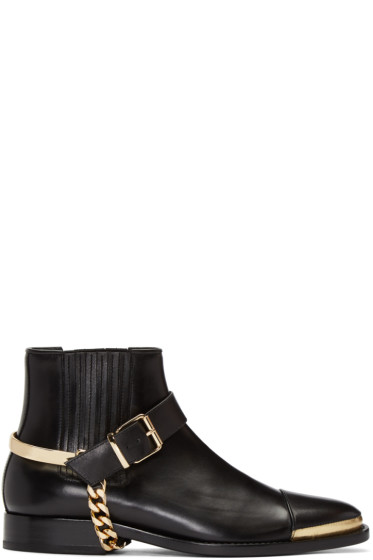Balmain - Black Buckled Chelsea Boots