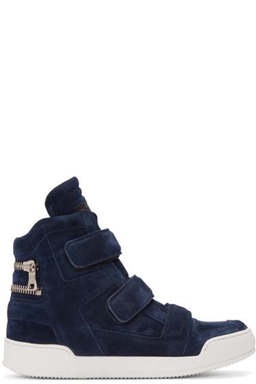 Balmain - Navy Suede Velcro High-Top Sneakers