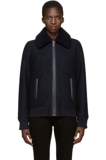 A.P.C. - Navy Bouclé Stacy Jacket