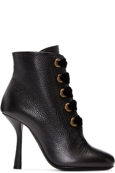 Lanvin - Black Eyelets Ankle Boots