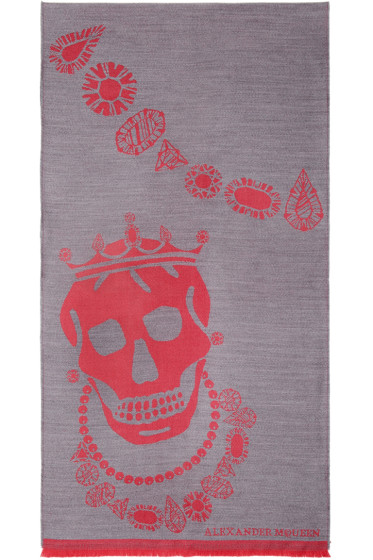 Alexander McQueen - Grey Kings & Queens Scarf