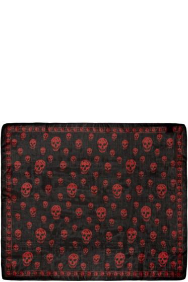 Alexander McQueen - Black & Red Chiffon Skull Scarf