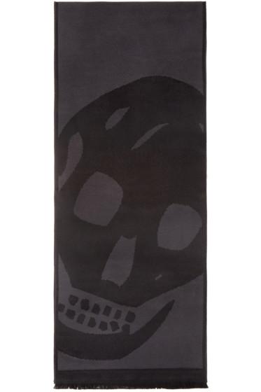 Alexander McQueen - Grey & Black Oversized Skull Scarf
