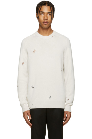 Alexander McQueen - Ivory Cashmere Distressed Sweater