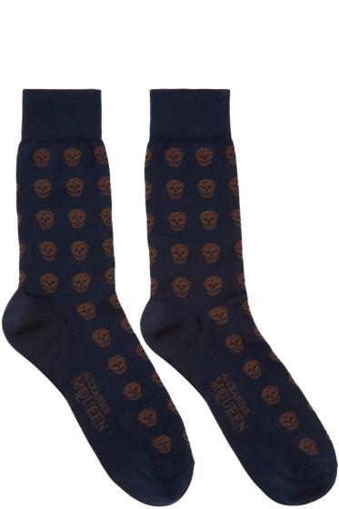 Alexander McQueen - Navy & Brown Skulls Socks
