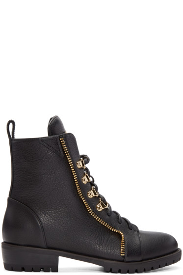 Giuseppe Zanotti - Black Leather Zip Boots