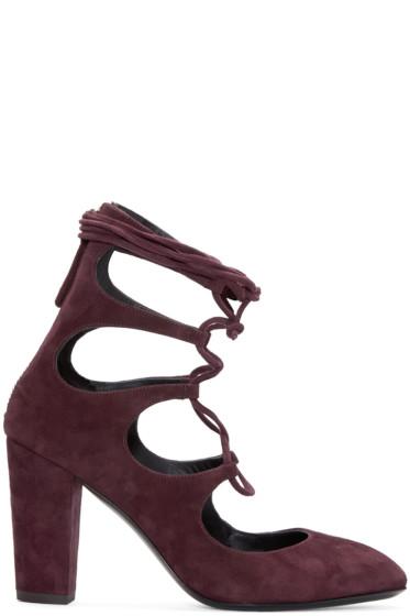 Giuseppe Zanotti - Burgundy Suede Lace-Up Heels