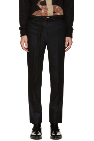 Givenchy - Black Wool Belted Trousers