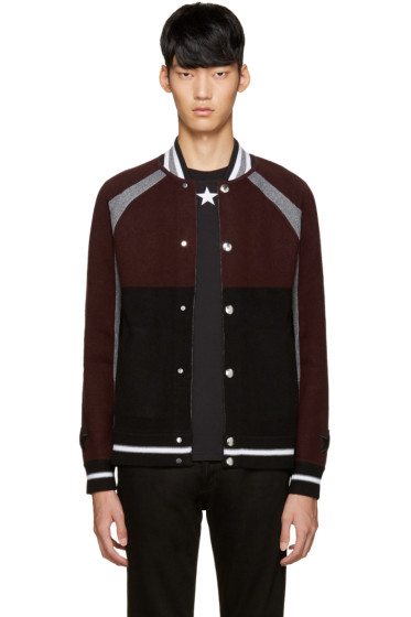 Givenchy - Burgundy & Black Wool Cardigan