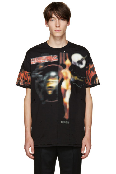 Givenchy - Black Distressed Printed T-Shirt