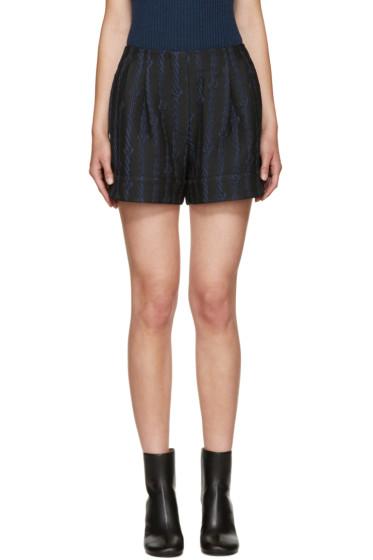 3.1 Phillip Lim - Black & Navy Jacquard Shorts