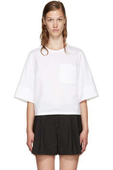 3.1 Phillip Lim - White Crochet Pocket Blouse