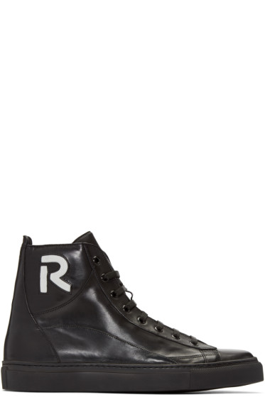 Raf Simons - Black 'R' High-Top Sneakers