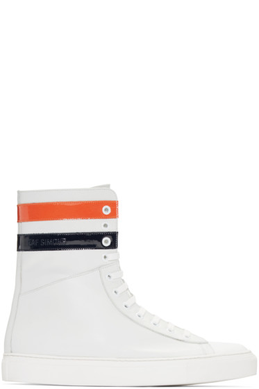 Raf Simons - Ecru Leather Stripes High-Top Sneakers