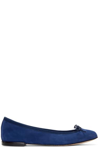 Repetto - Navy Suede Cendrillon Ballerina Flats