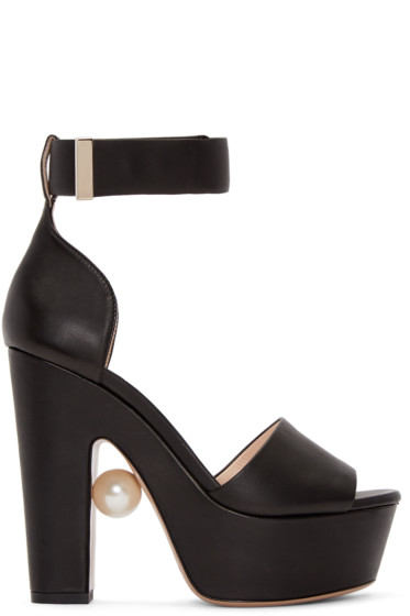 Nicholas Kirkwood - Black Leather Maya Pearl Sandals