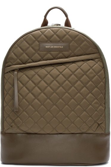 Want Les Essentiels - Khaki Quilted Canvas Kastrup Backpack