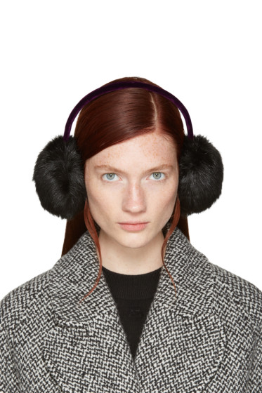 Carven - Black Faux-Fur Ear Muffs