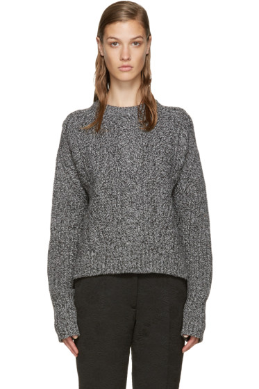 Carven - Black & White Cable Knit Sweater