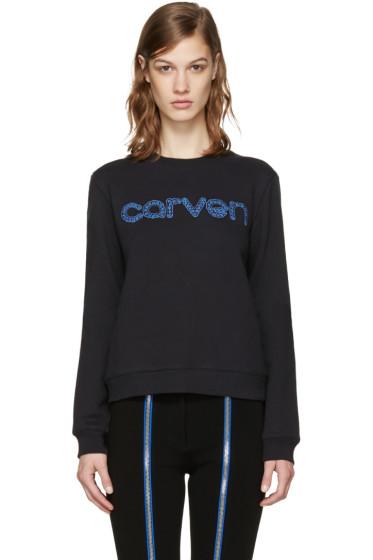 Carven - Black Embroidered Logo Pullover